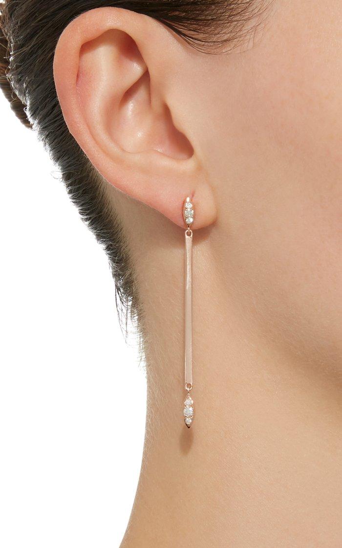 Matchstick 18K Rose Gold Diamond Earrings