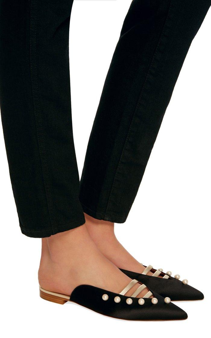 Zelda Leather-Trimmed Silk-Satin Point-Toe Flats