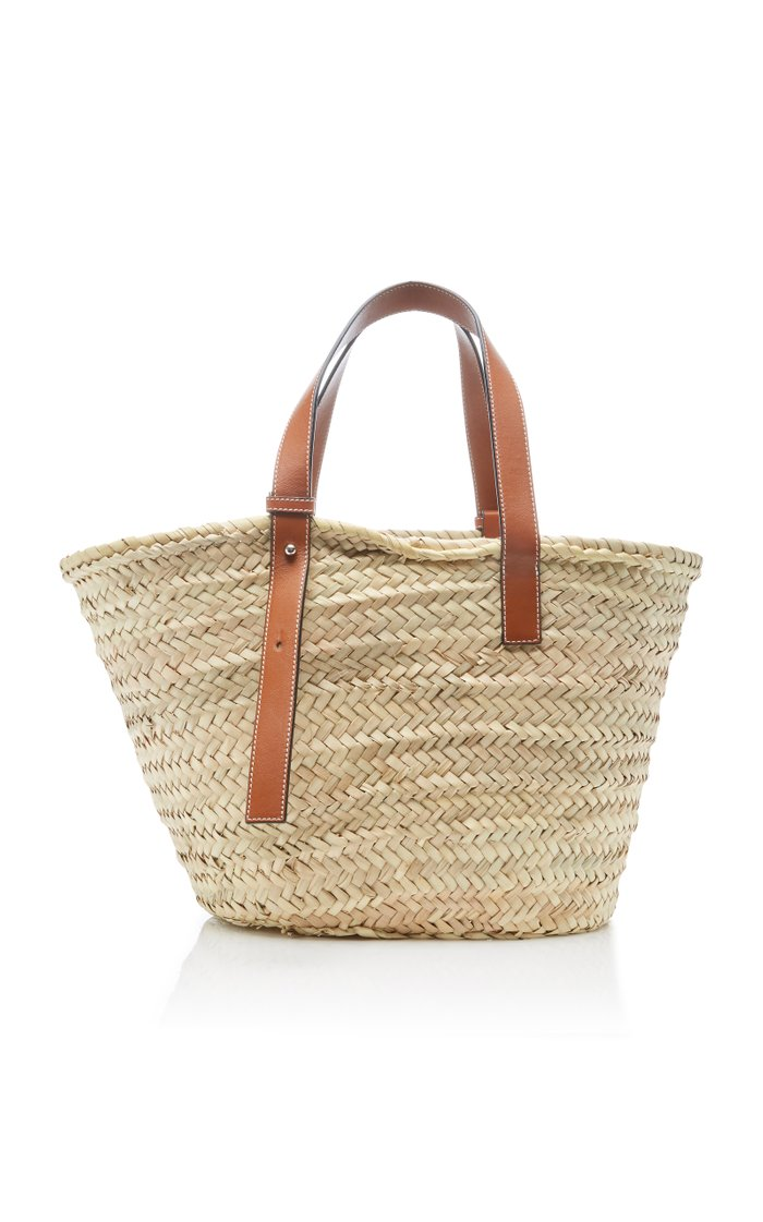 Raffia and Leather Basket Bag
