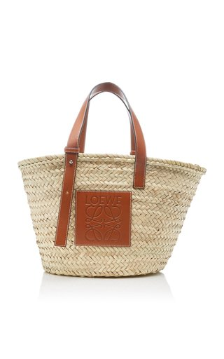 Medium Raffia and Leather Basket Bag