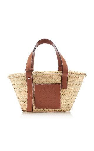 Small Raffia and Leather Basket Bag