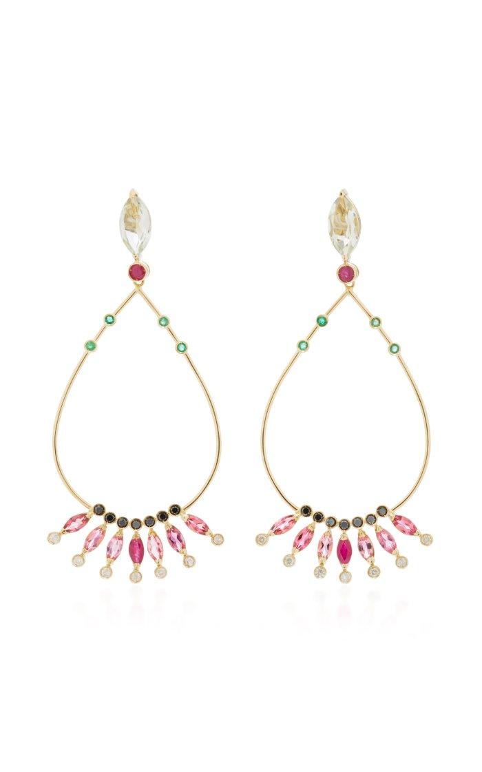 18K Gold Multi-Stone Drop Earrings