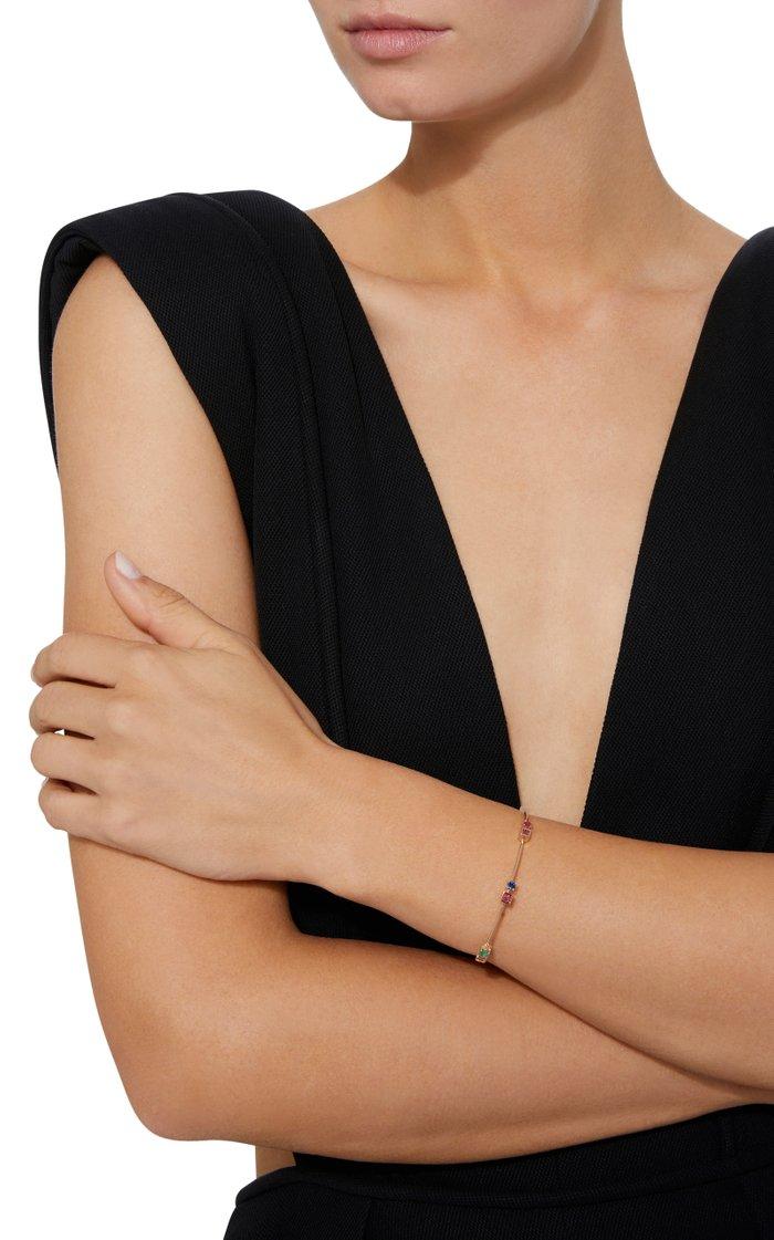 18K Gold Multi-Stone Rose Detail Bracelet