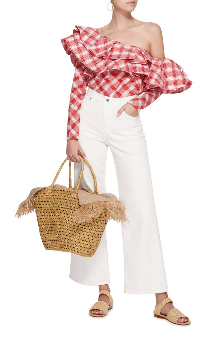 Blaise Cotton Trimmed Straw Tote
