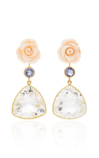 18K Gold Pink Coral Flower, Lolite, Rock Crystal Earrings