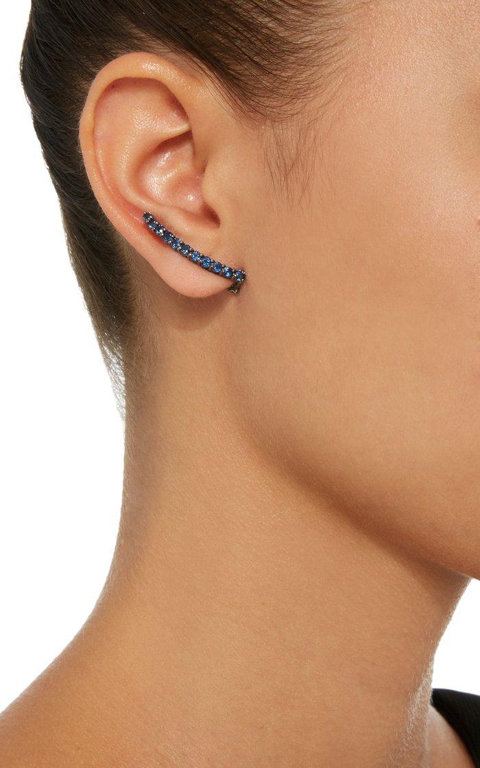 18K White Gold and Black Rhodium Sapphire Earrings