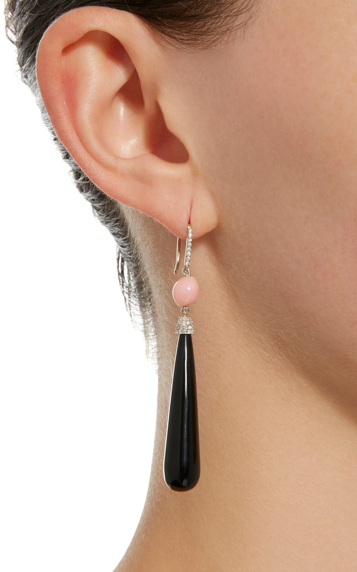 18K White Gold, Conch Pearl and Diamond Earrings