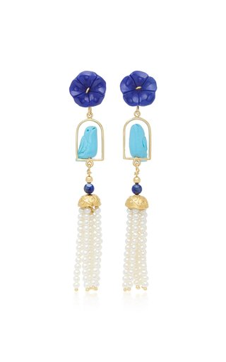 Swingers 18K Yellow Gold Vermeil, Lapis, Turquoise and Pearl Earrings