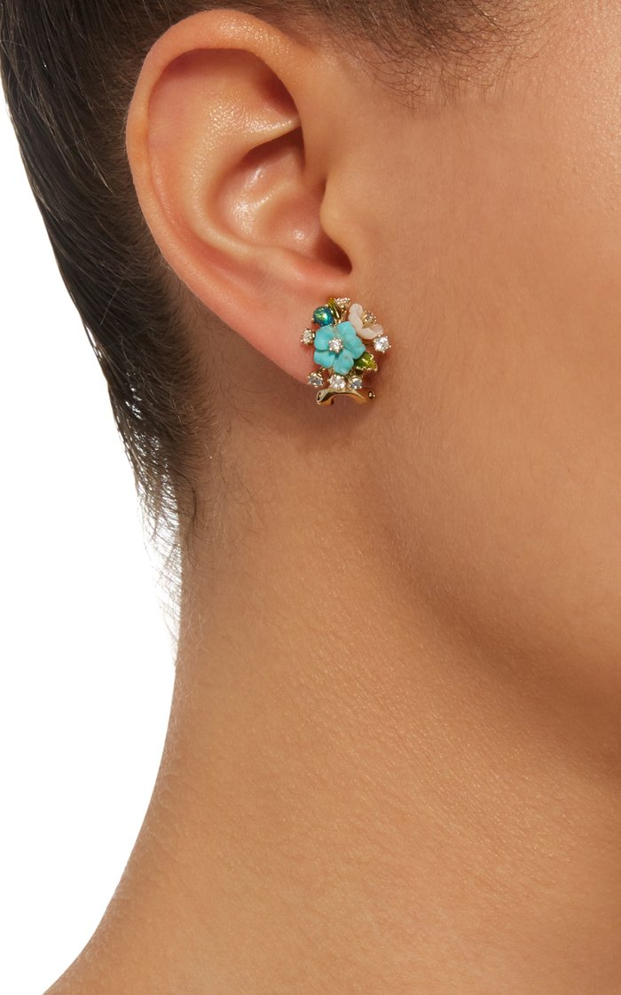 18K Gold Vermeil, Diamond and Turquoise Bouquet Earrings