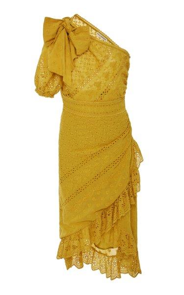 Gwyneth One Shoulder Eyelet Dress