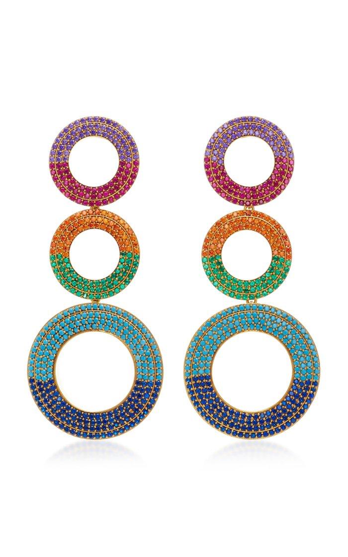 Gold-Plated Grommet Rainbow Earrings