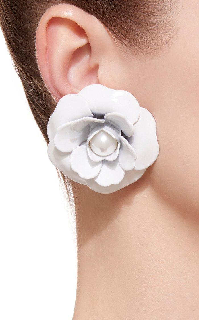 White Rose Earrings with Pearl