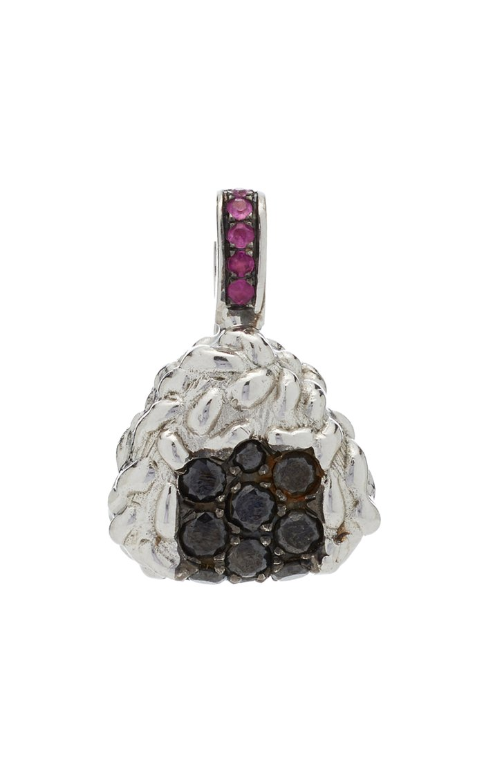 Onighiri 18K White Gold, Diamond And Sapphire Charm