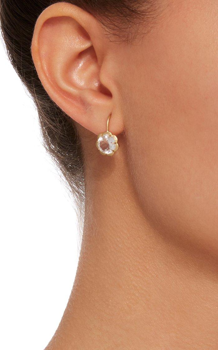 18K Gold And White Topaz Earrings