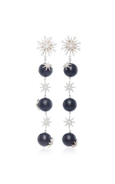 Starburst 18K White Gold, Diamond and Agate Earrings