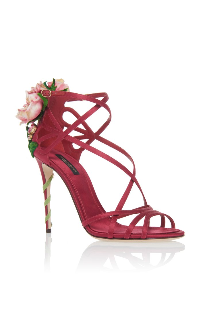Floral-Appliquéd Satin Sandals