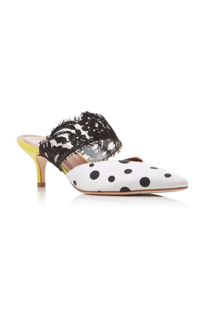 Maisie Polka-Dot Satin And Lace Mules
