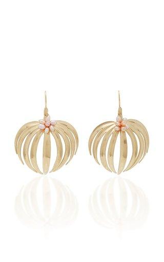 Palm 14K Gold Pearl Earrings