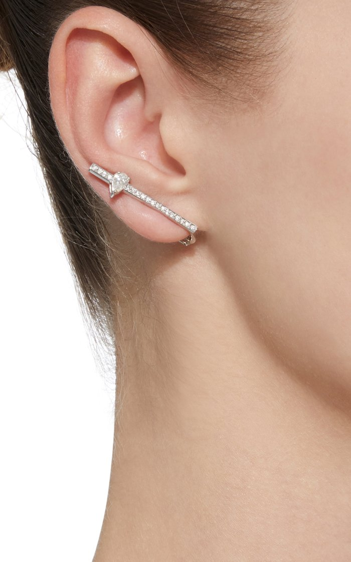 White Gold And Diamonds Line Earrings