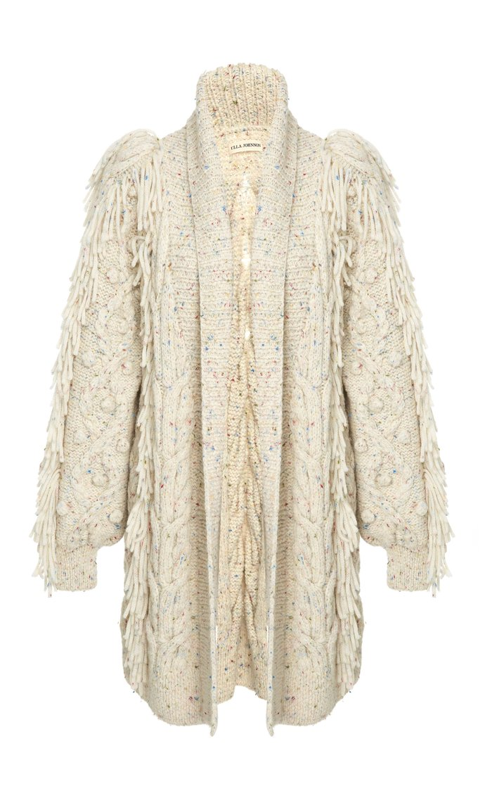 Arrossa Fringed Cable-Knit Cardigan