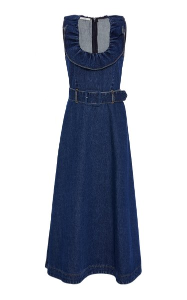 Sleeveless Belted Denim Midi Dress