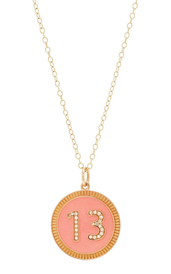 Custom Diamond Number Pink Enamel Necklace