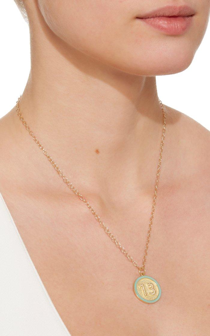 Custom Diamond Number Enamel Necklace