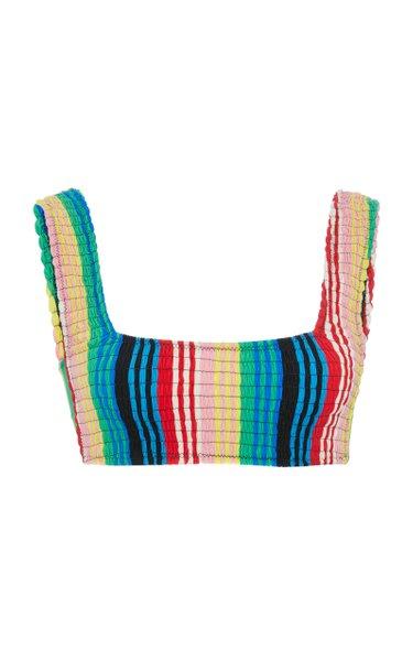 Smocked Striped Bikini Top