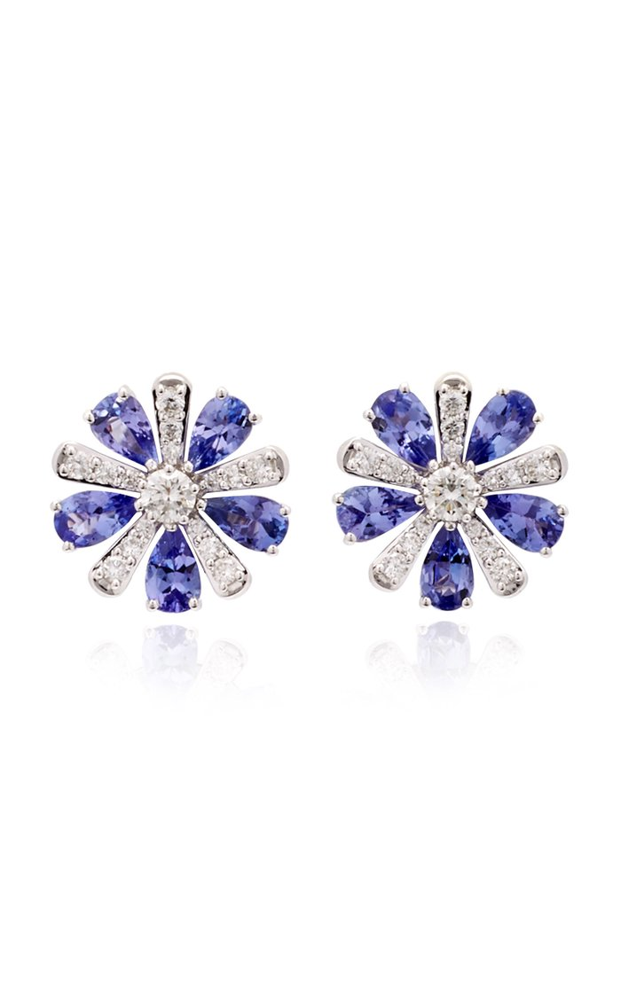 Exclusive 18K White Gold, Tanzanite And Diamond Earrings