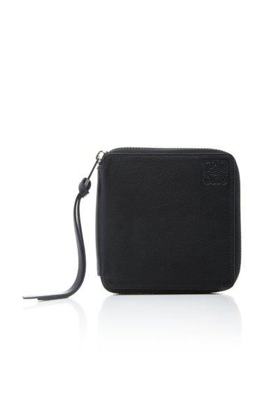 Square-Zip Metallic Leather Wallet