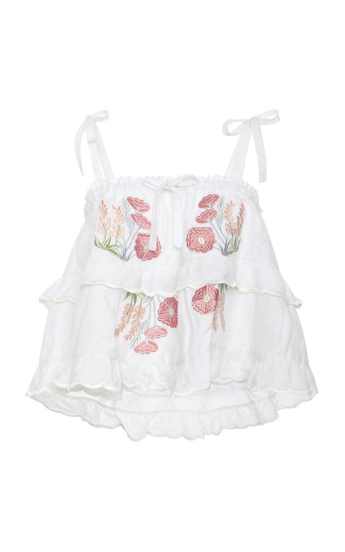 Cropped Tiered Cotton-Voile Top