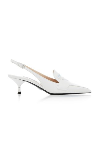 Logo Leather Slingback Pumps