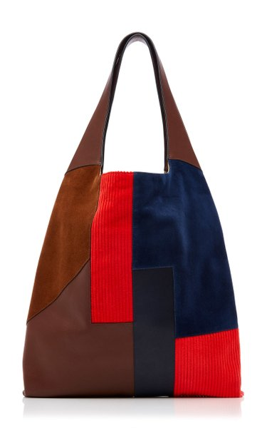 Patchwork-Effect Suede, Corduroy And Leather Tote