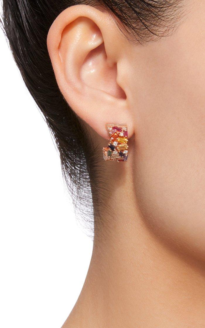 Rainbow Firework 18K Rose Gold, Diamond And Sapphire Earrings