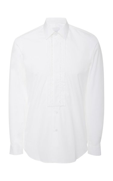 Pleated Cotton-Poplin Tuxedo Shirt