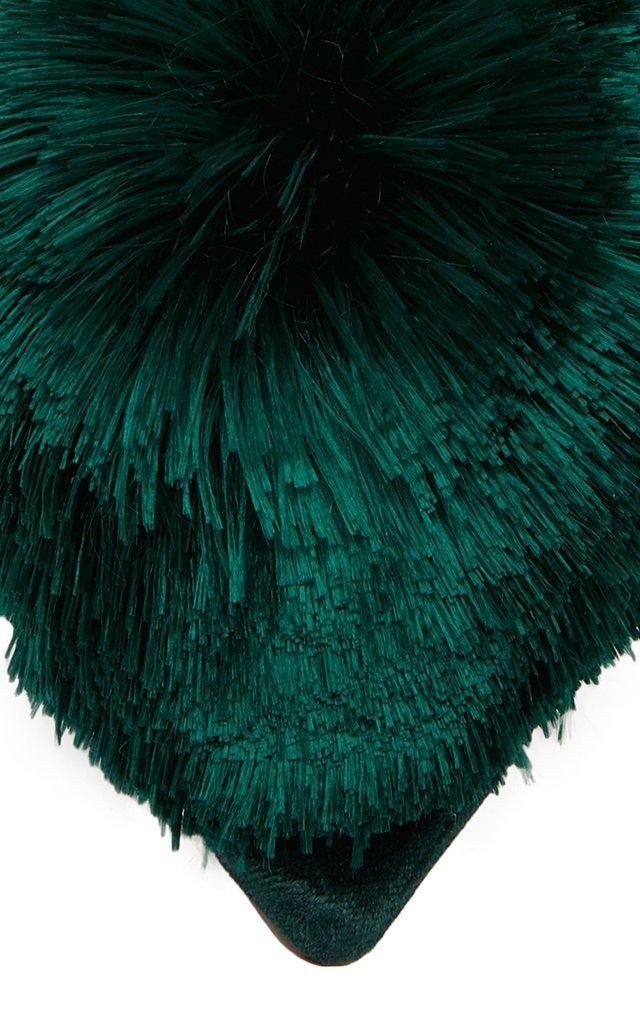 Pom Pom-Embellished Velvet Mules