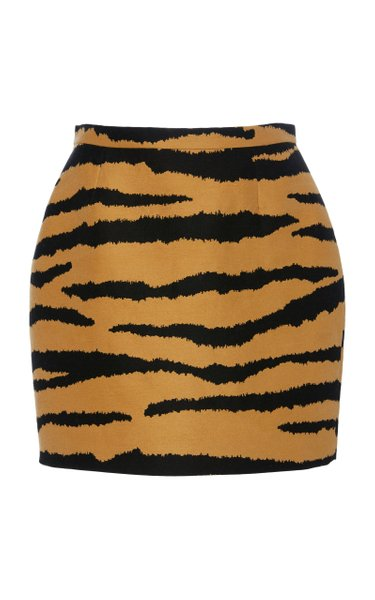 Animal-Print Wool And Silk-Blend Mini Skirt