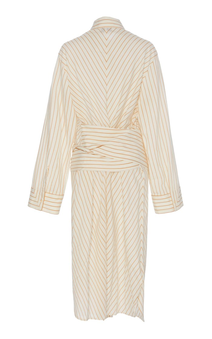 Lina Striped Cotton Wrap Dress