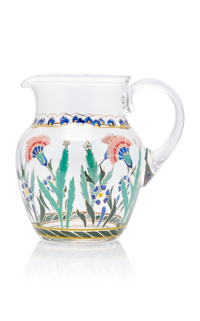 Painted Glass Pitcher