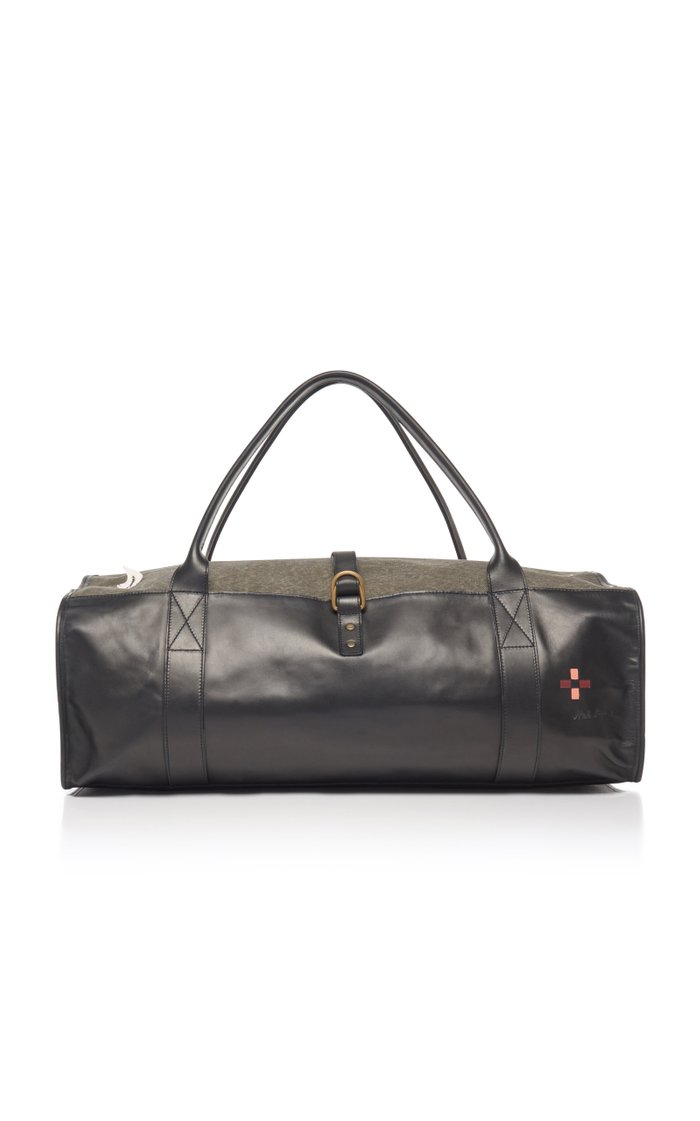 Hand-Painted Leather And Canvas Duffel Bag