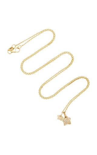Two Stars 18K Gold Diamond Necklace