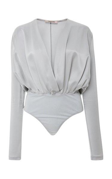 Lina Draped Silk-Charmeuse Bodysuit