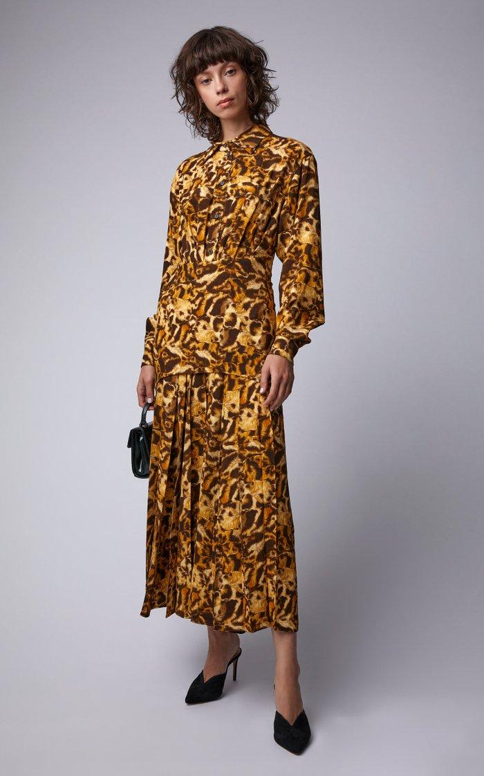 Animal Print Pleated Crepe Shirt Dress
