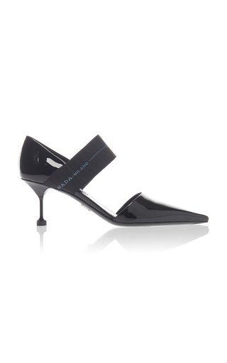 Stretch Knit-Trimmed Patent-Leather Pumps