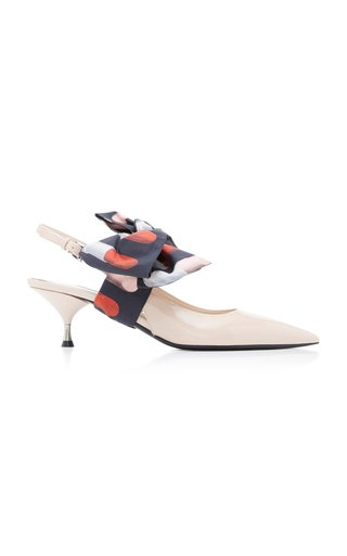 Bow-Detailed Patent-Leather Slingback Pumps
