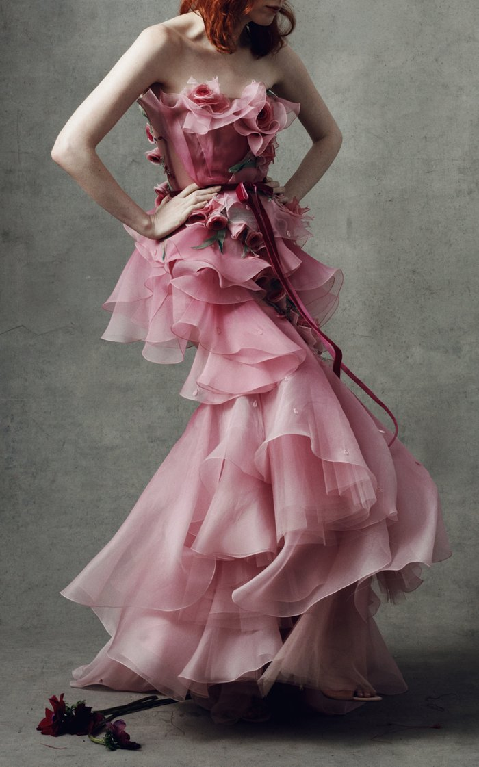 Ombre Tiered Silk Organza Gown