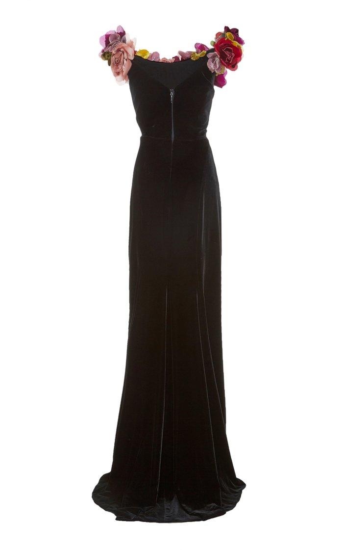 Floral-Appliquéd Off-The-Shoulder Velvet Gown