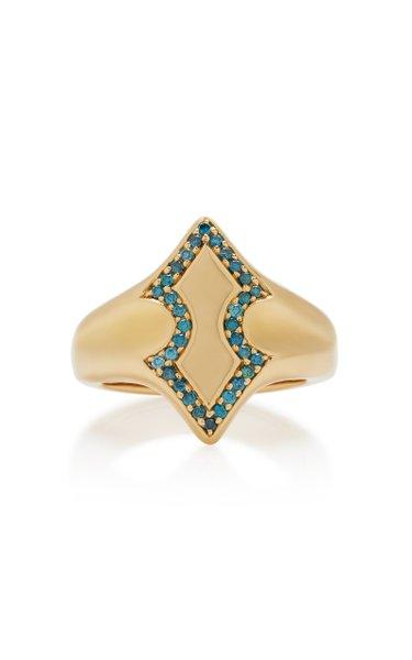 Adina 18K Gold Diamond Signet Ring
