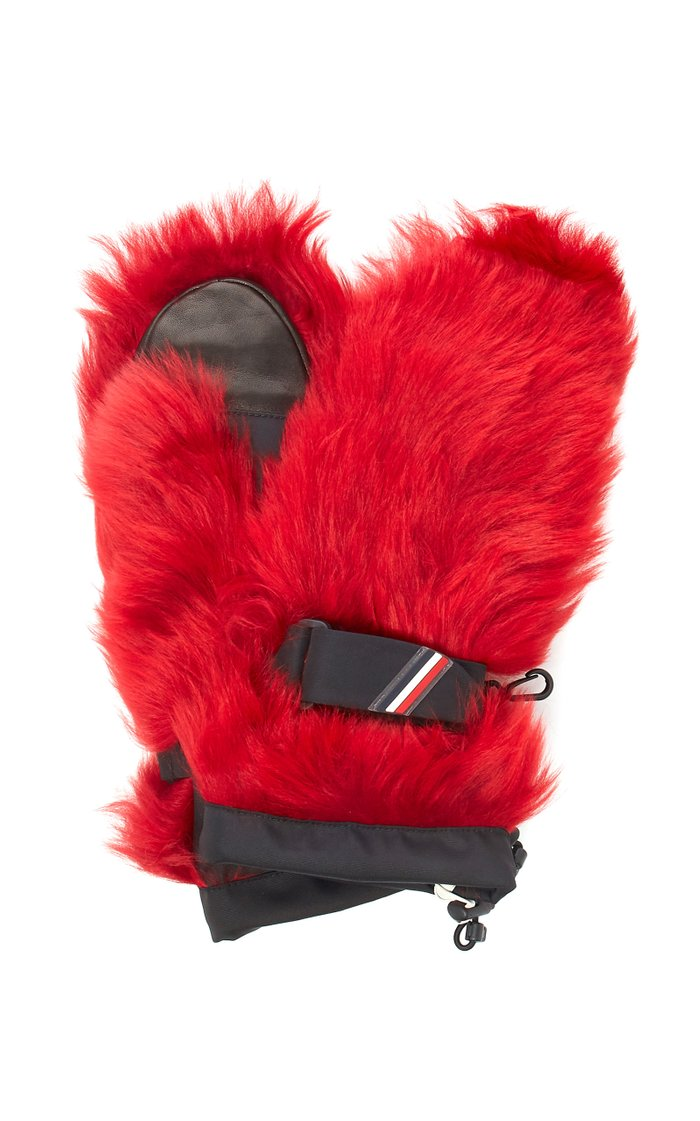 Coated Shell-Trimmed Shearling Mittens