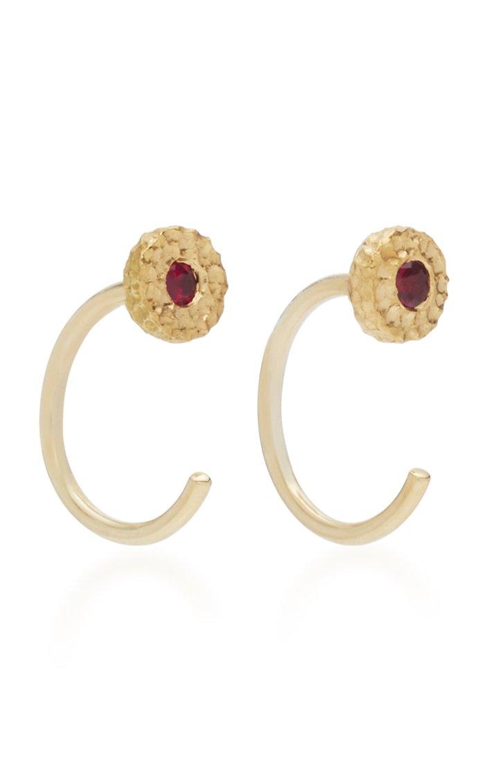 Ruby Nesting Gem 18K Gold Ruby Earrings